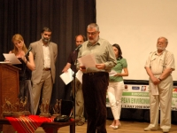 "The International jury of the Festival with Chairman Assen Vladimirov, Closing Ceremony, 6 July 2008, ""H.N.D. Palaveev"" Community Cultural Center, Koprivstitsa"