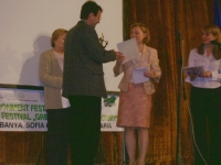 Carmen Gonzalves (Deputy Head of Mission of the Royal Netherlands Embassy in Bulgaria) gives one of the Awards of the Festival