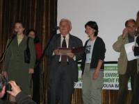 "Eng. Todor Ivanov (Mayor of Dolna Banya Municipality) gives the Mayor's Award to Antonia Vlayikova (Environmental Association ""For the Earth"")"